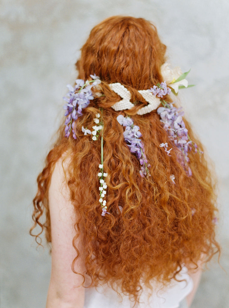 Macramé Wedding - An ethereal wedding hairstyle with florals