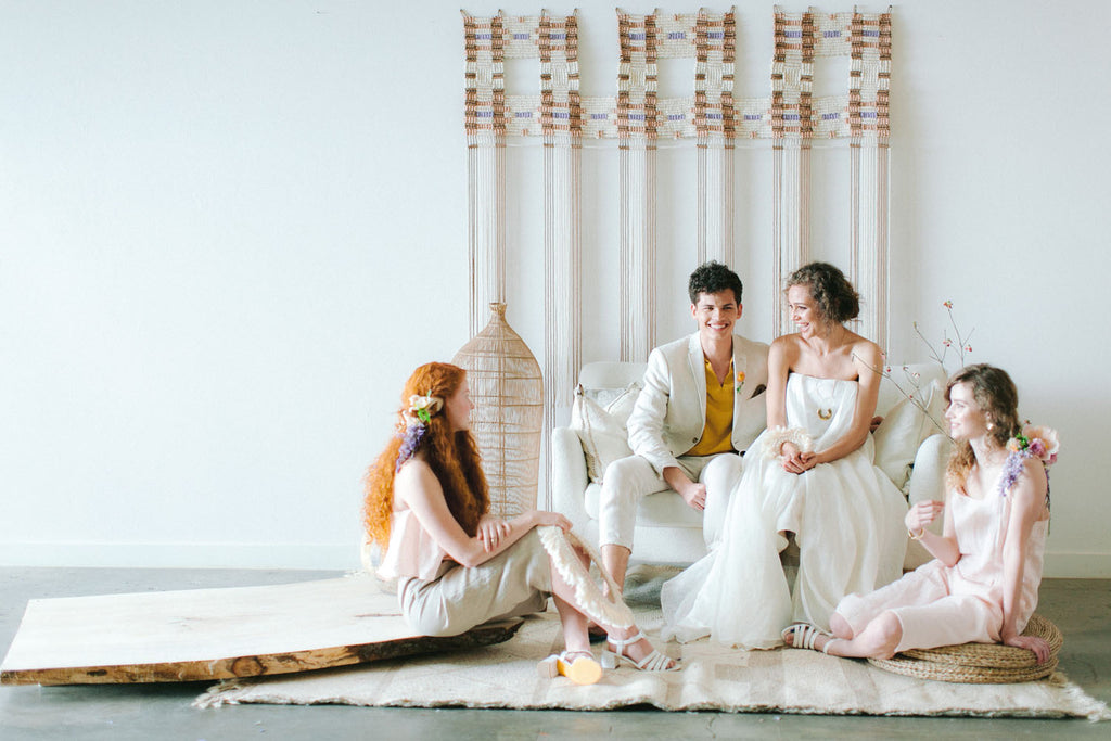 Bridal Party Photography for an ethereal macramé wedding in the spring