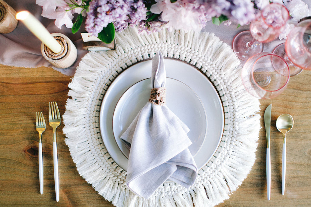 Delicate Macramé place setting for an ethereal spring wedding