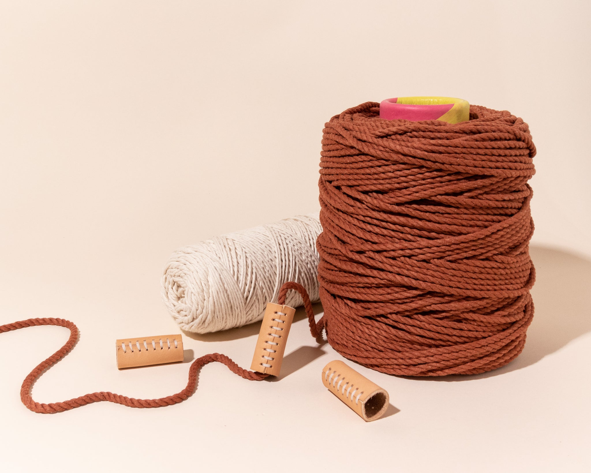 Modern Macramé Quality Cotton Rope and Cord, pictured with Leather Haiti Beads