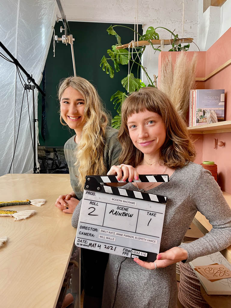 Emily and Elspeth in filming for the Craft Club tutorials