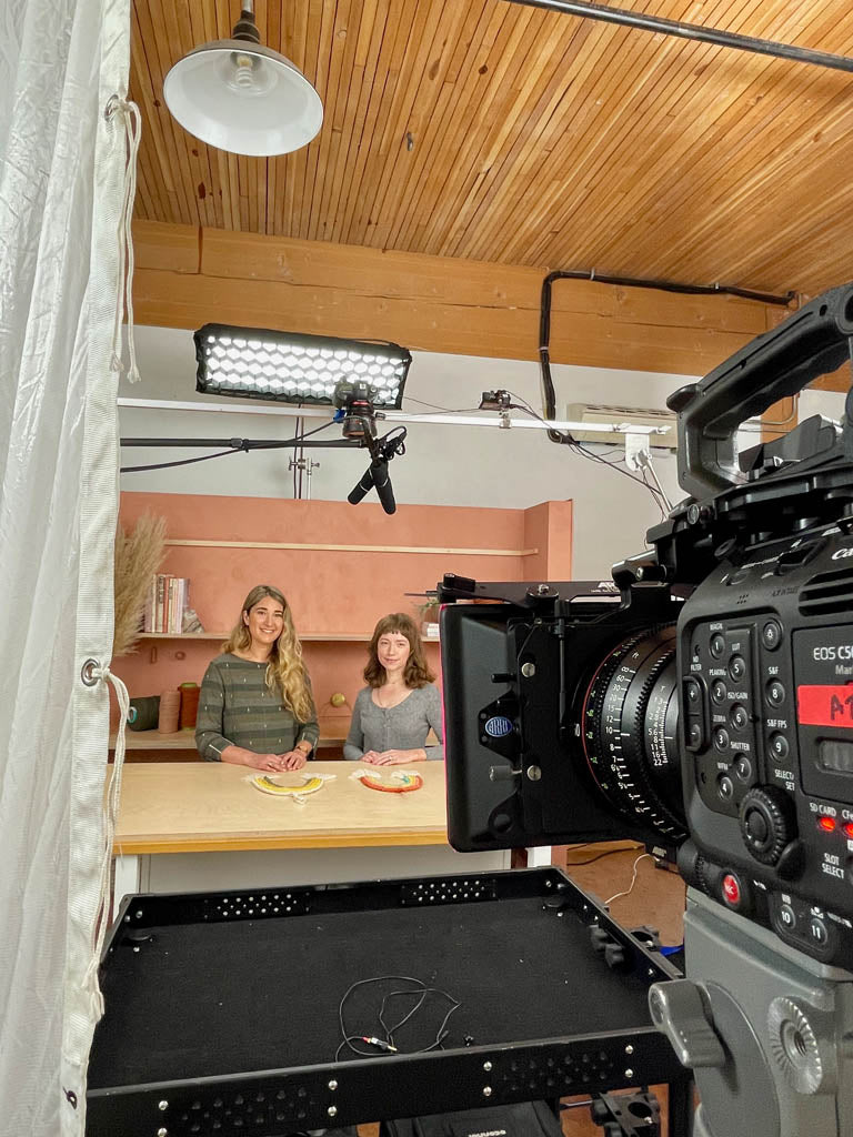 Emily and Elspeth mid-filming