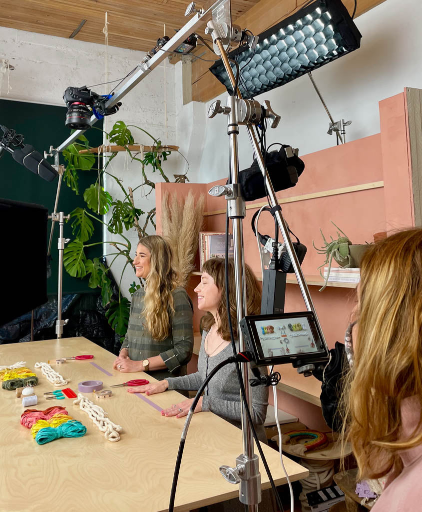 Emily Katz and Elspeth Vance filming for the Modern Macramé Craft Club