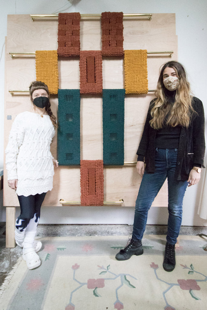 Emily Katz and Elspeth Vance with a custom Modern Macramé piece for The Society in San Diego