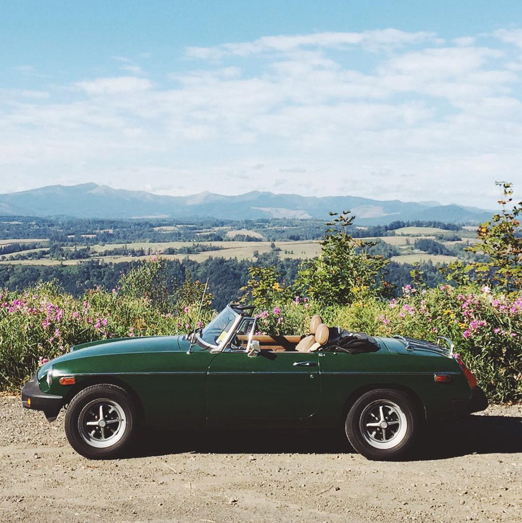 Emily Katz's convertible in the Columbia River Gorge