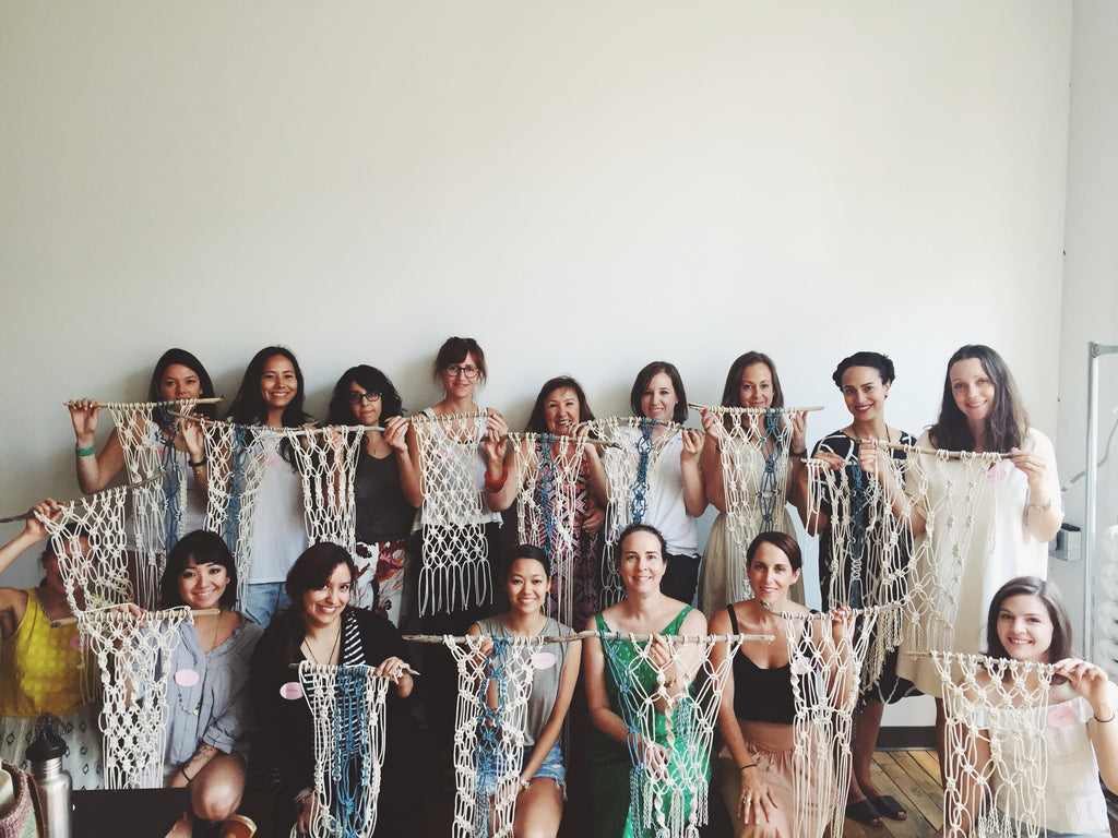 Happy Modern Macrame workshop participants! Learning macrame is so fun!
