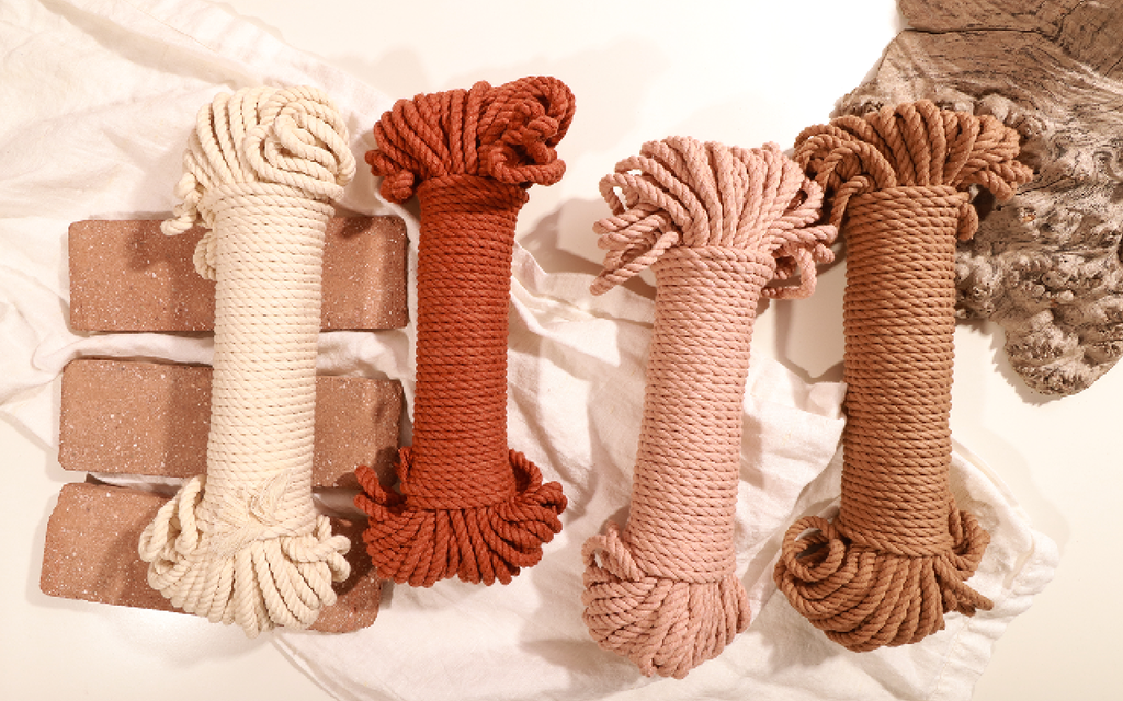 Painted Hills Wall Hanging 5mm Cotton Rope Bundles in Natural Copper Peach and Wheat
