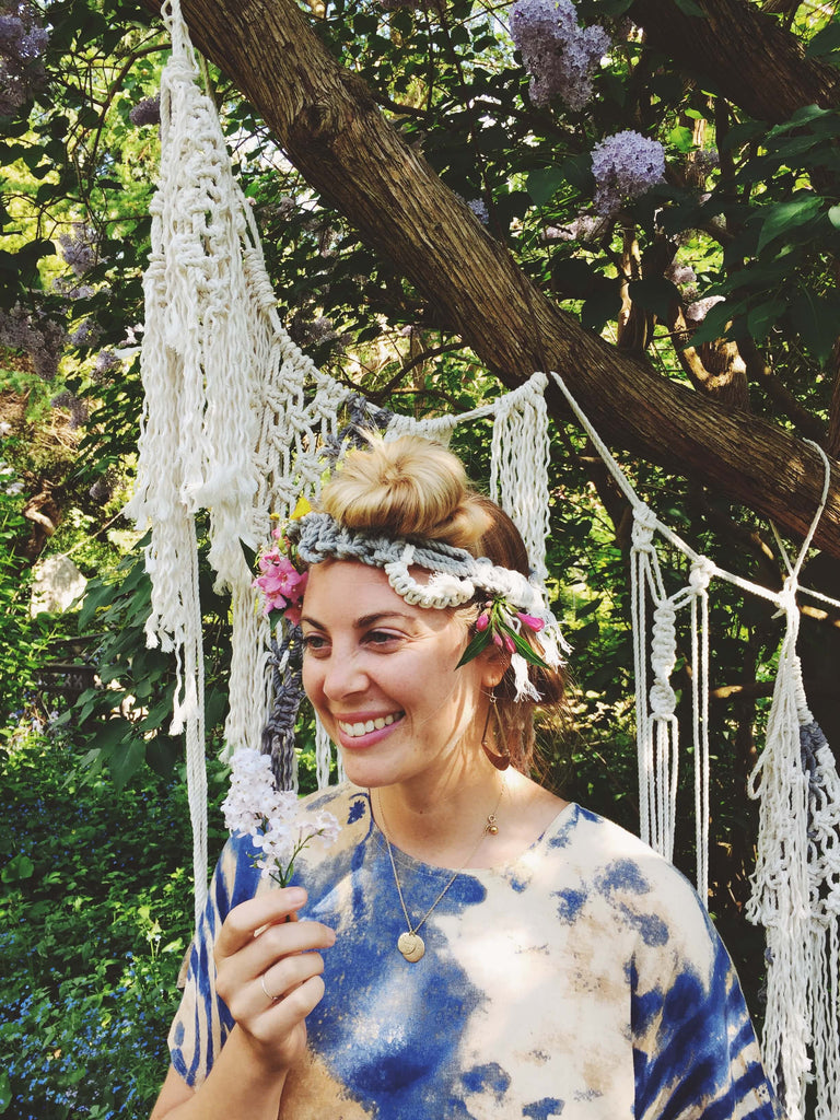 Magical Sarah of MY NEW ROOTS in her macrame crown