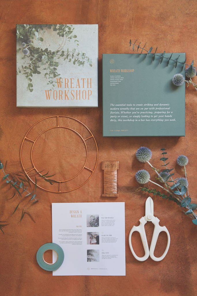 Wreath making kit with scissors, brass hoops, and tutorials