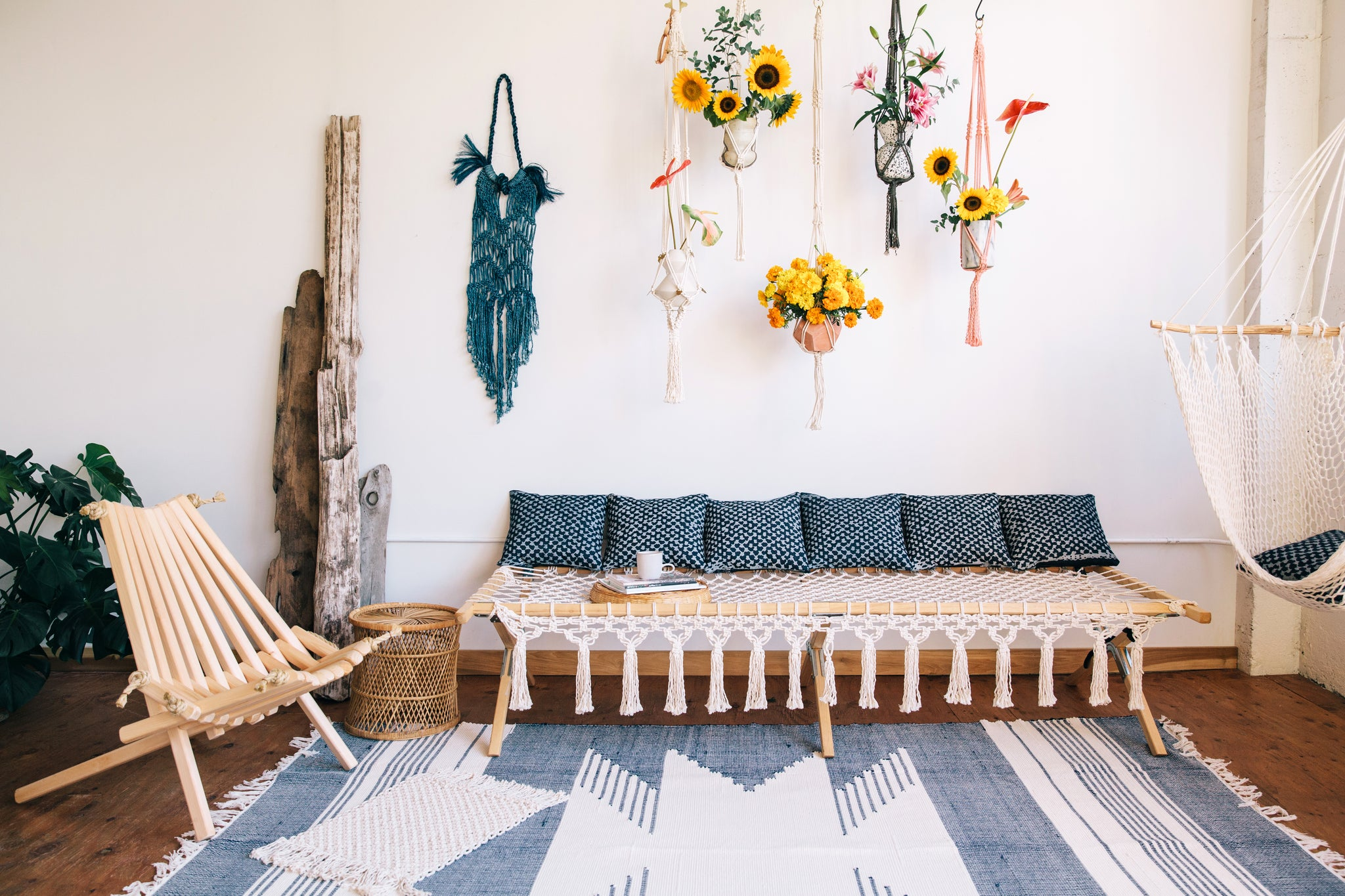 nautical themed macrame home plants style