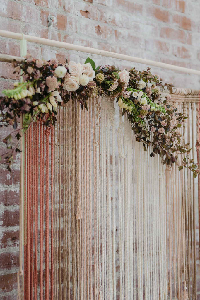 Macrame and floral design Wedding arbor inspiration