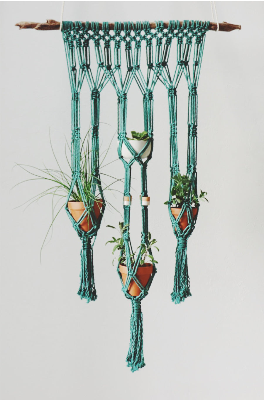 Want to learn to make this beautiful macrame plant hanger garden? We have all you need.