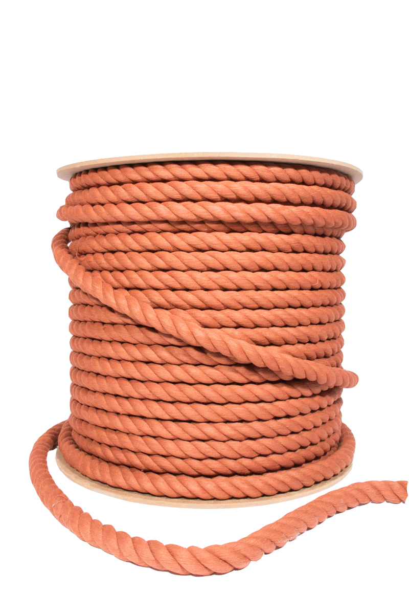 Copper  12 mm thick 3 ply twisted cotton rope