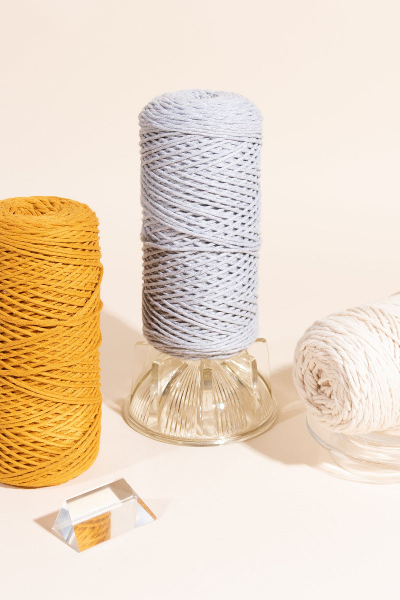 Fiber Pack includes Mustard, Light Gray and Natural 2mm Cotton Cord String