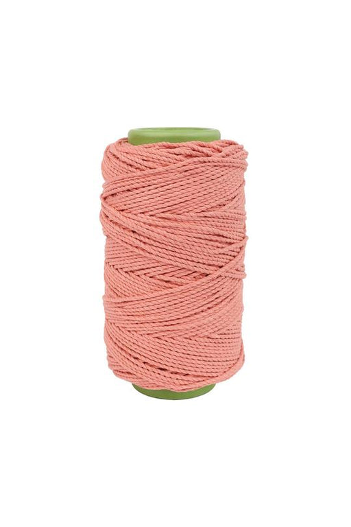 3mm 2 ply 100% cotton rope in Blush