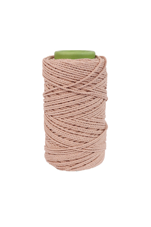 3mm 2 ply 100% cotton rope in peach