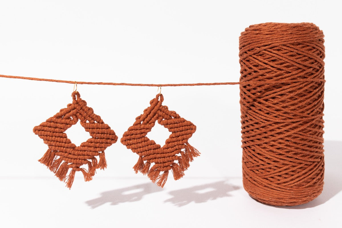 Copper 2mm Cotton String and Copper Athena Earrings