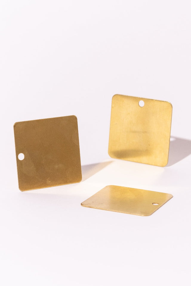 Square Brass Flat Beads
