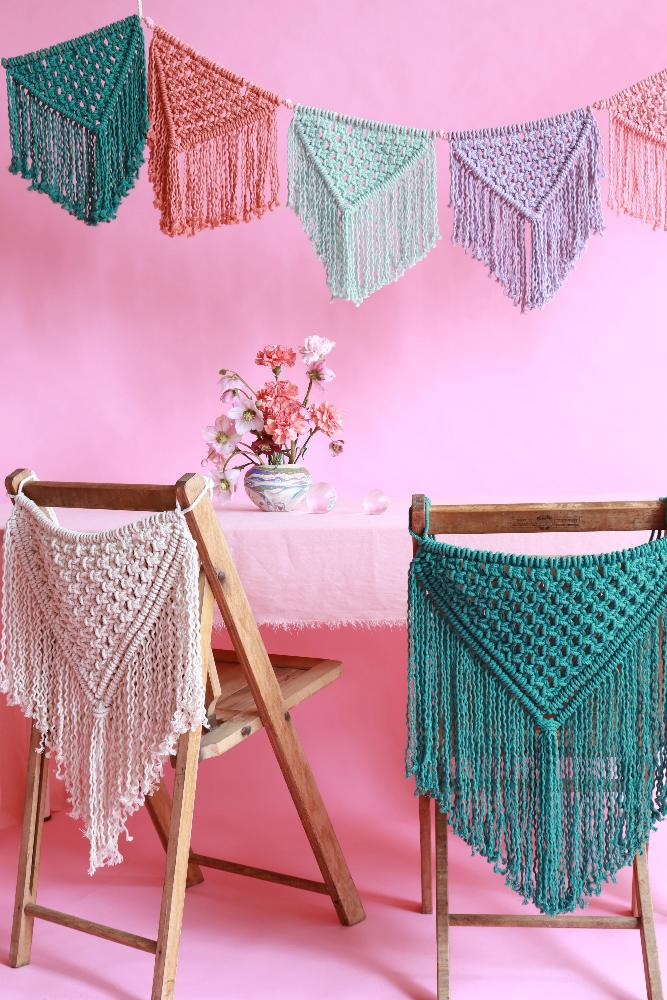 Celebration macrame chair garland for weddings, parties and celebrations.