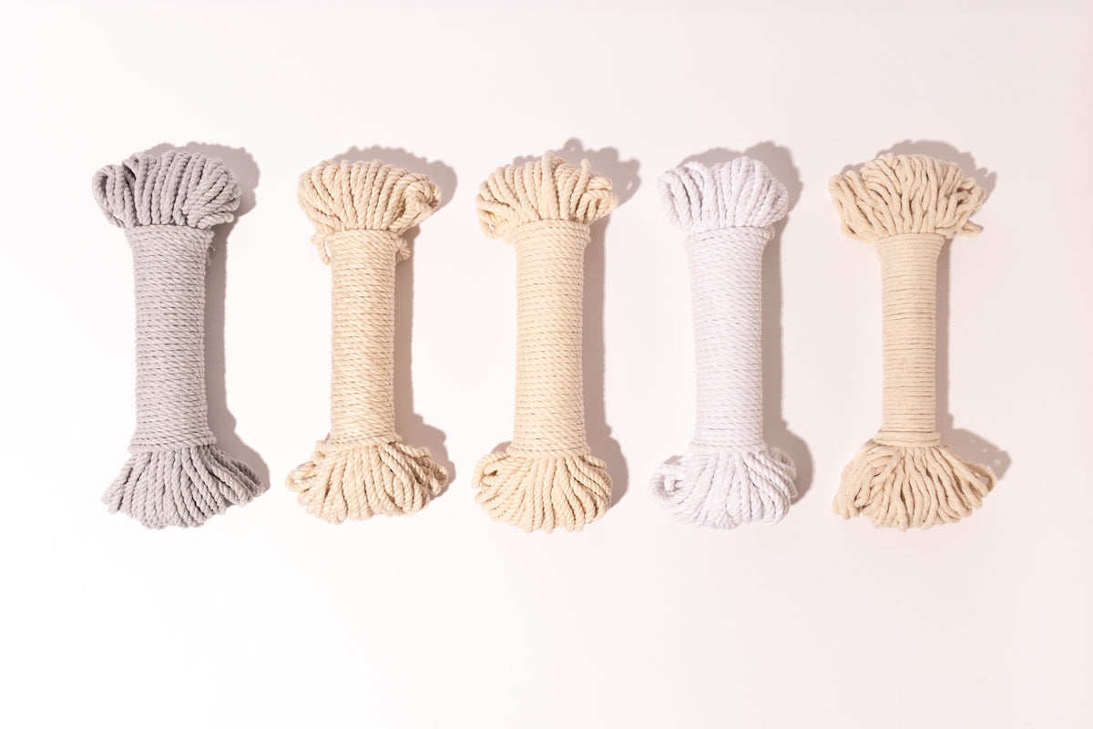 5mm Cotton Rope in Light Gray, Natural, Bright White, and 4mm Cotton Cord in Natural