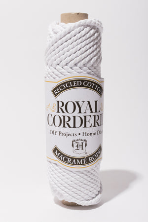 Bright White 6mm Cotton Rope Recycled Content 2 ply