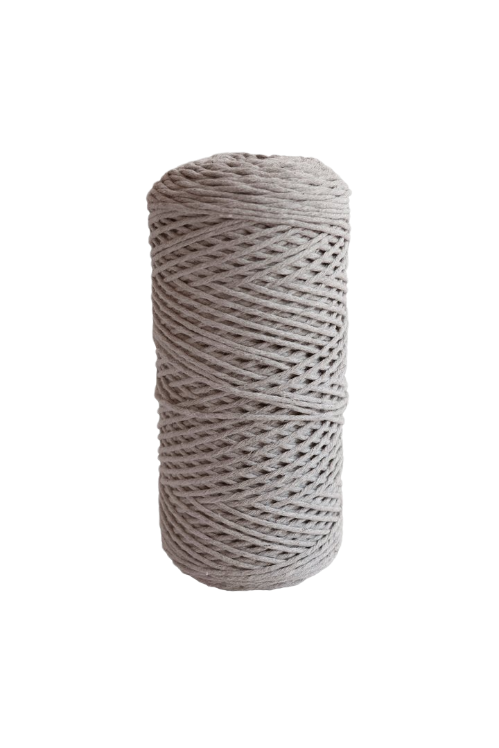 light gray 2mm 100% oeko tex certified cotton string or cord