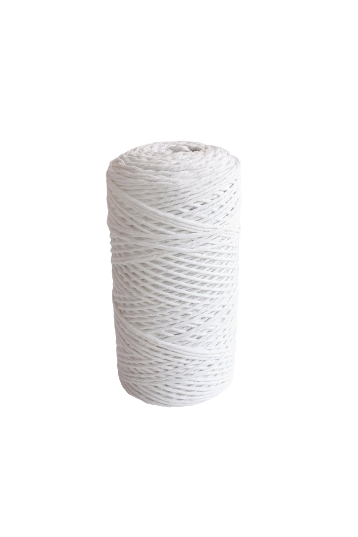 bright white 2mm 100% oeko tex certified cotton string or cord