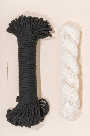 Black cotton rope and linen yarn from Flax and Twine