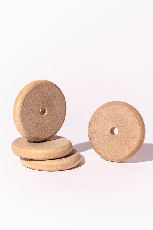 Natural Wood Beads, Large Disc, Set of 4