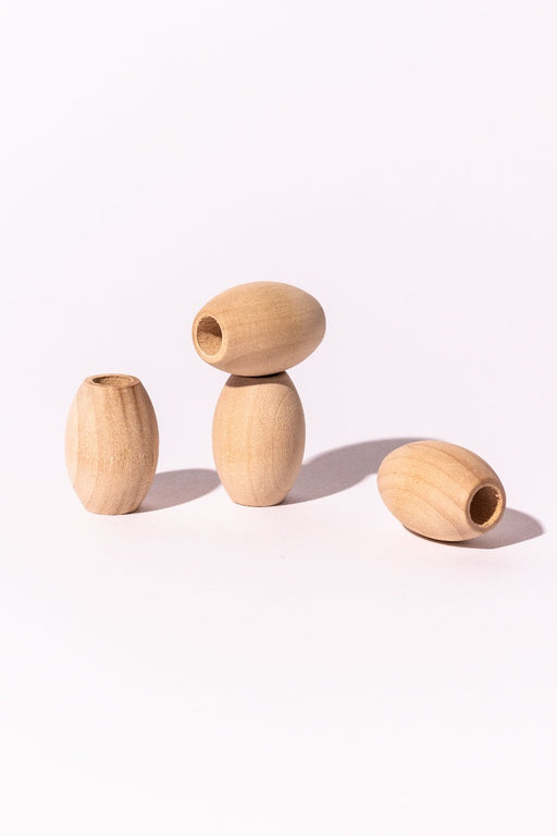Natural Wood Oval Beads, Set of 4