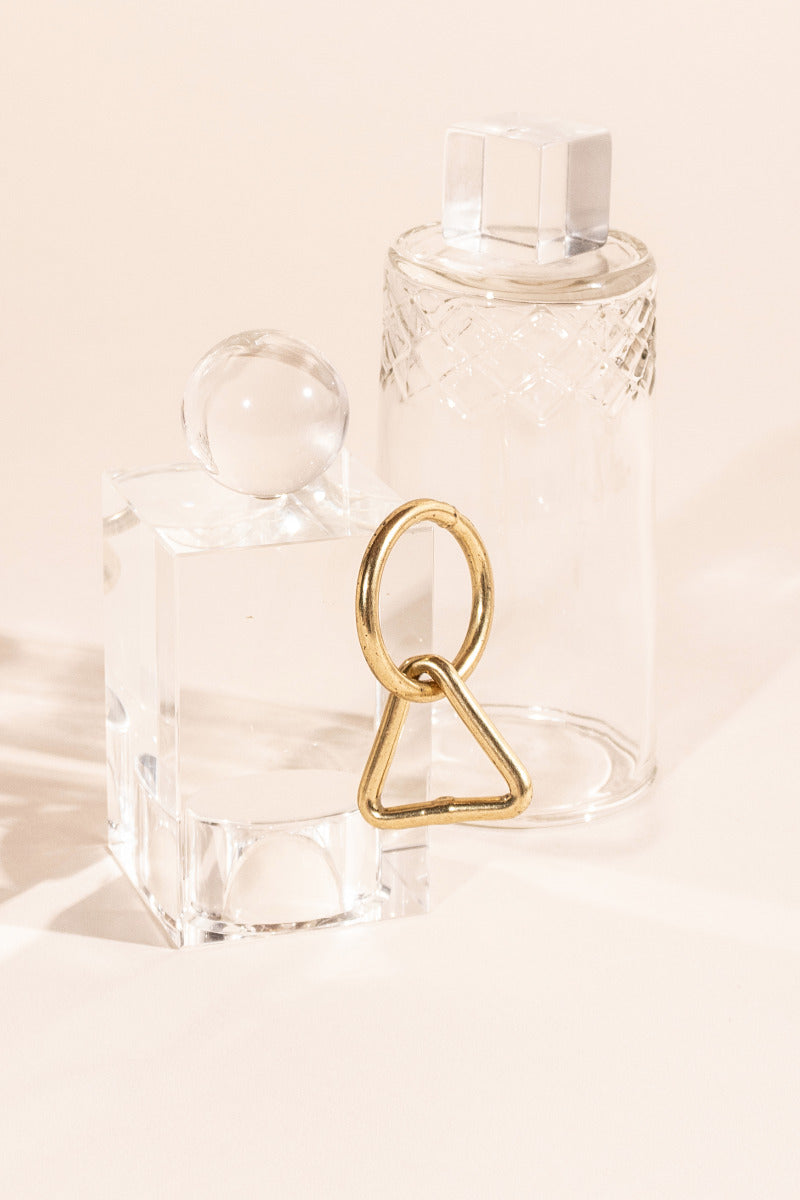 Brass Keyhole Ring, interlocking circle and triangle plant hanger ring