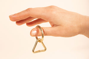 Brass Keyhole Ring, plant hanger loop and ring, circle with triangle