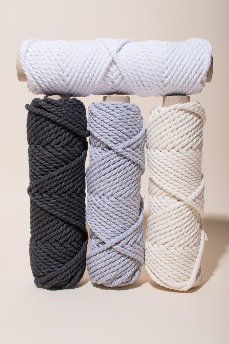 6mm Recycled Cotton Cord, 2 ply Natural, Light Gray, Black and White