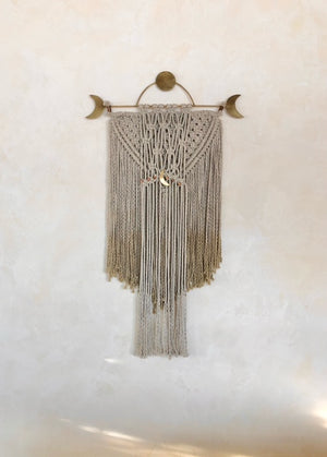 Moonlight Brass Form with Macramé wallhanging