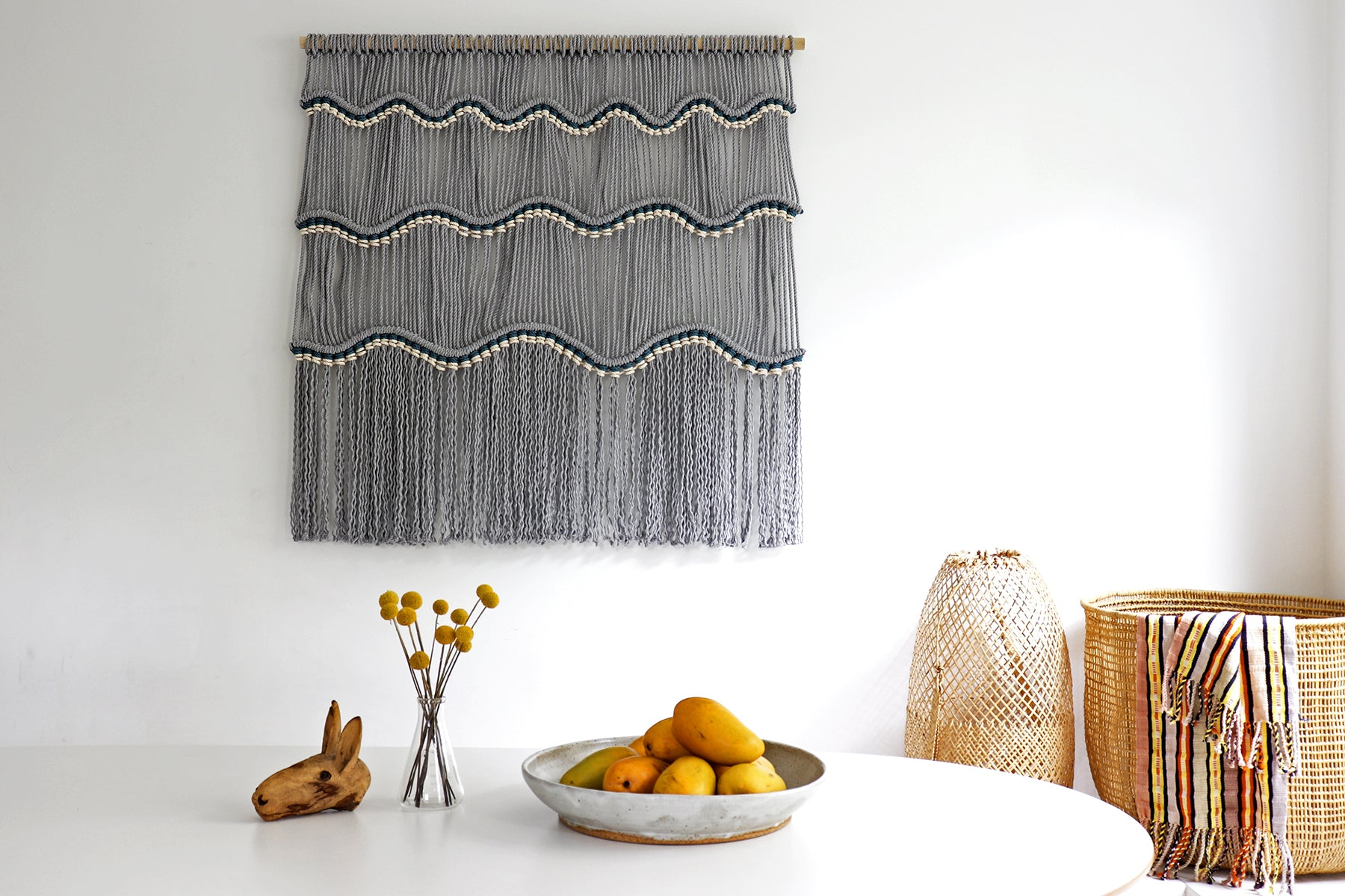 Guatemal Waves Macramé Pattern wall hanging is a fun diy project using 5mm cotton rope and a wooden dowel