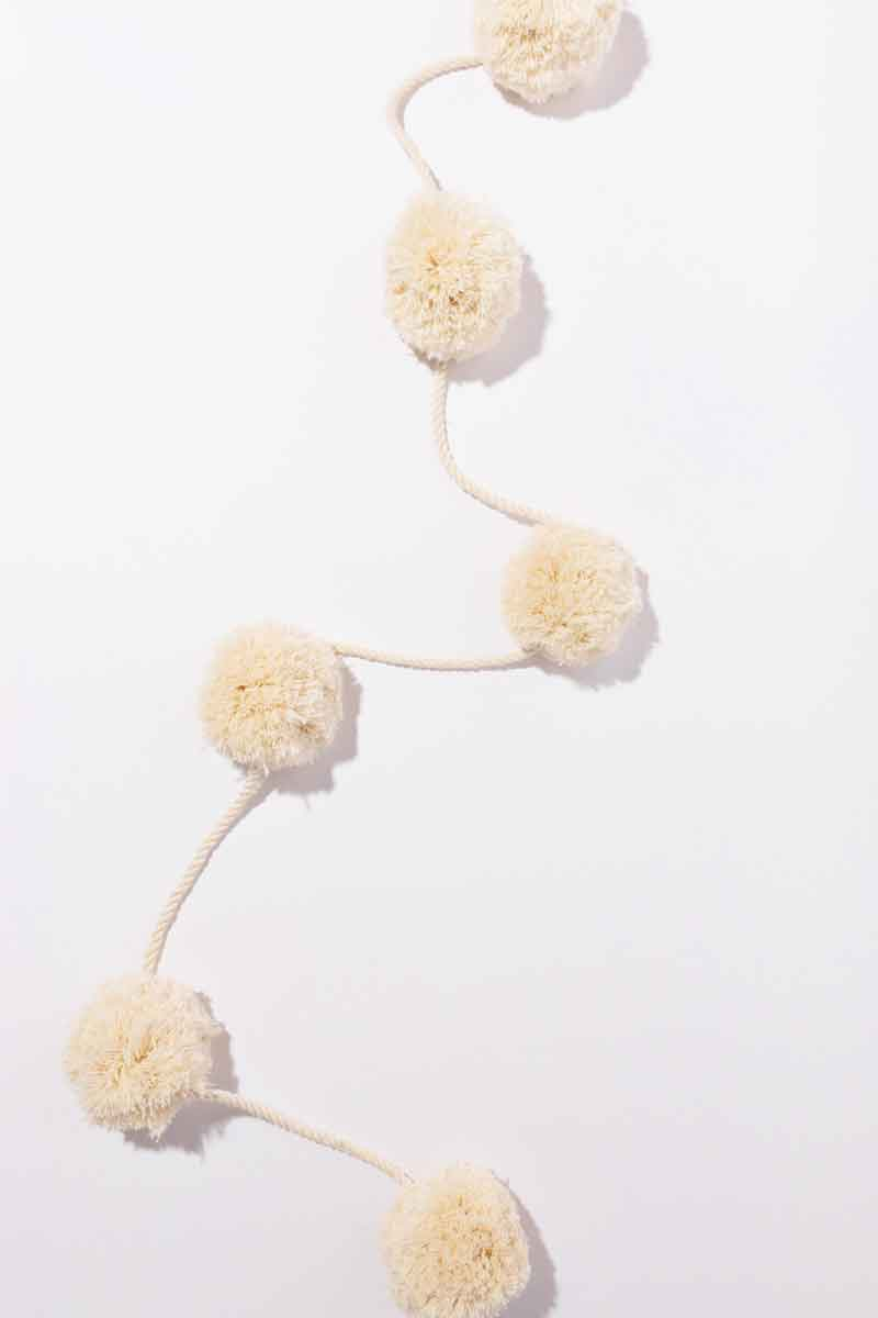 Snowball pom pom garland using our best selling rope and string