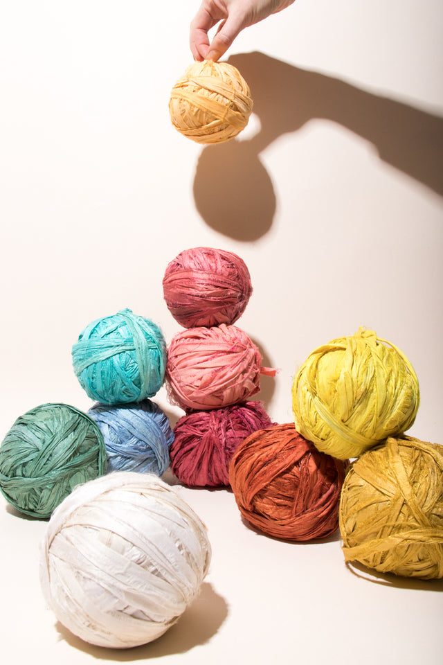 Rainbow of Silk Sari Ribbon Balls