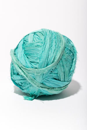 Arizona Turquoise Silk Sari Ribbon Ball