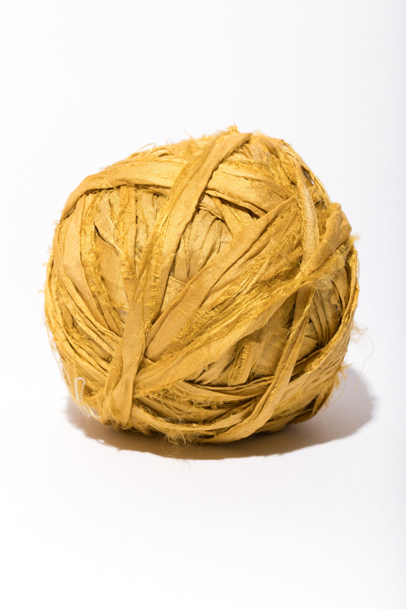 Marigold Silk Sari Ribbon Ball