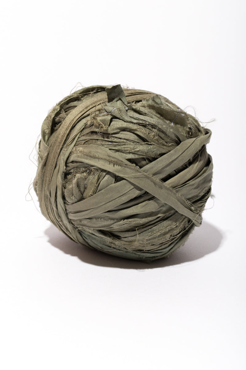 Olive Silk Sari Ribbon Ball
