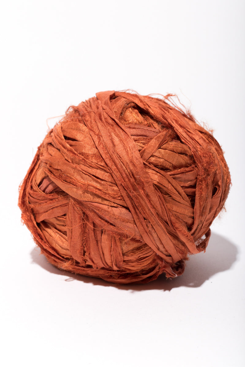 Rust Silk Sari Ribbon Ball