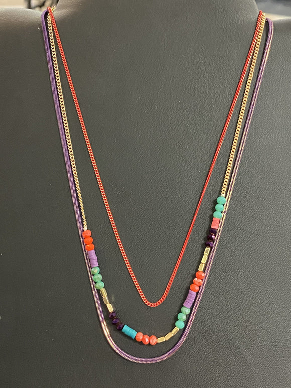 Caracol Multi-Colored Beaded Necklace - 1311-MIX