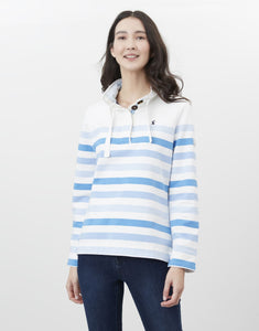 Joules Funnel Neck Sweater in Cream Stripe - 213804
