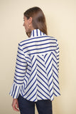 Joseph Ribkoff 3/4 Sleeve Jacket with Nautical Stripes - 211182