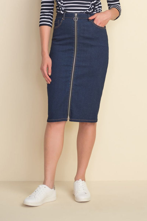 Joseph Ribkoff Indigo Denim Skirt- 212925