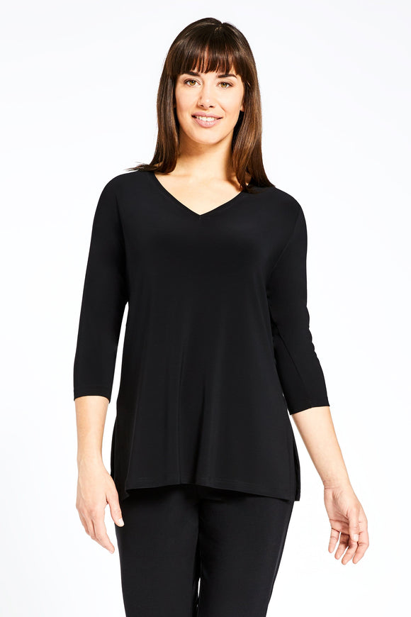 Sympli Go To V-Neck T Relax 3/4 Sleeve Black 22170-2 Top