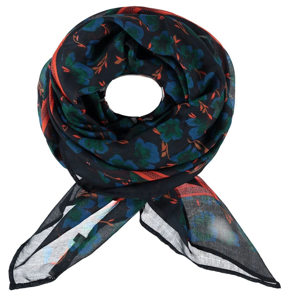 Garcia Blue Scarf with Floral Print - J90330 292