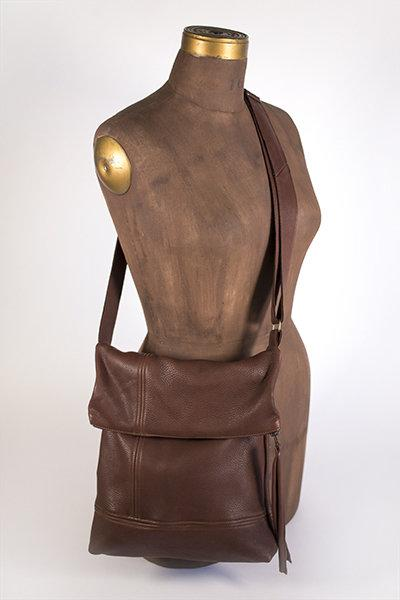 Hides in Hand Fold over Purse in Brown