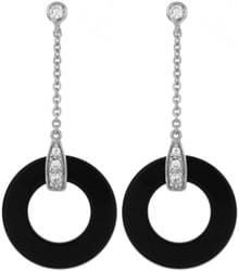 Supreme Silver Earrings Black Onyx and CZ EZ559-S