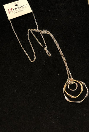 Artisan Design Long Necklace with Silver and Gold Hoops